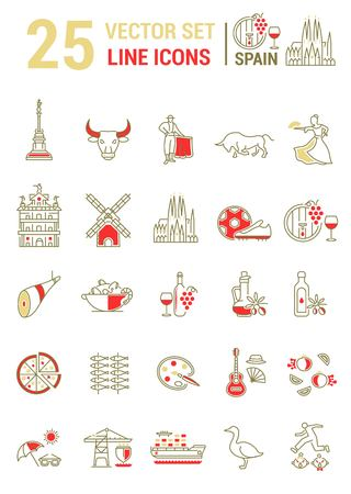 Vector set of line icons in flat design with elements of Spain. Collection of modern graphics and logo design for mobile concepts and web applications