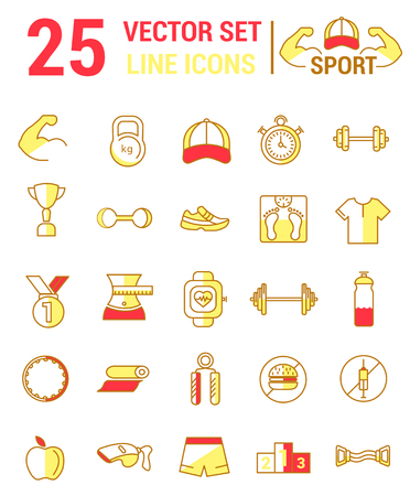 Vector set of line icons on the theme of sports.