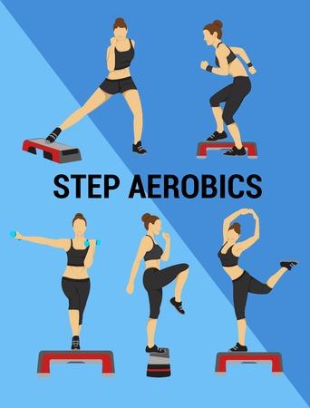 Fitness-Vektor-Set. Schattenbild eines Mädchens. Infografiken flaches Design. Der Satz von Elementen und Charakteren für Sport, Fitness und Step-Aerobic für eine Website, Werbung oder einen Flyer. Plakat für Fitness. Vektorgrafik