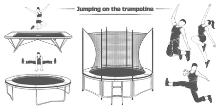 Set of silhouettes of people jumping on the trampoline. Vector image of three types of trampolines.