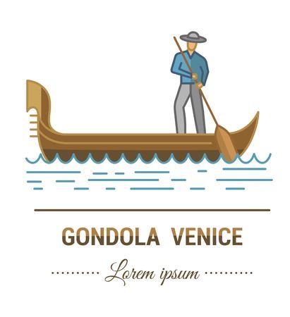 Farbabbildungen und flaches lineares Design. Vorlagen, Logo und Marke von Gondel und Gondoliere in Venedig mit Vintage-Elementen. Einfach zu bedienendes Geschäft. Vektorabstraktes Logo oder Emblem. Logo