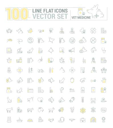 Vector graphic set. Icons in flat, contour, thin and linear design.Veterinary Medicine. Treatment, diagnosis and symptoms of pet disease.Consultation of doctor. Concept sign, symbol for Web site, app. Illustration
