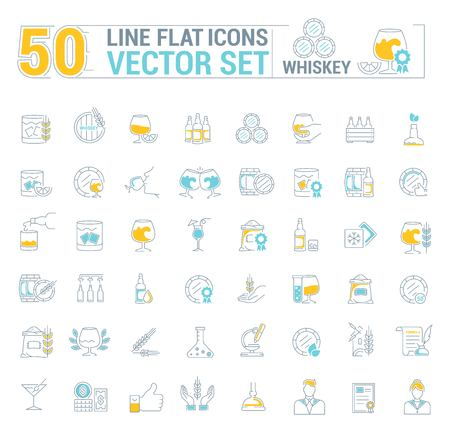 Vector graphic set of simple icons in flat, contour, thin and linear design. Whiskey. Scottish and Irish alcoholic drink. Concept simple, isolated illustration for Web site, app. Sign, symbol, emblem