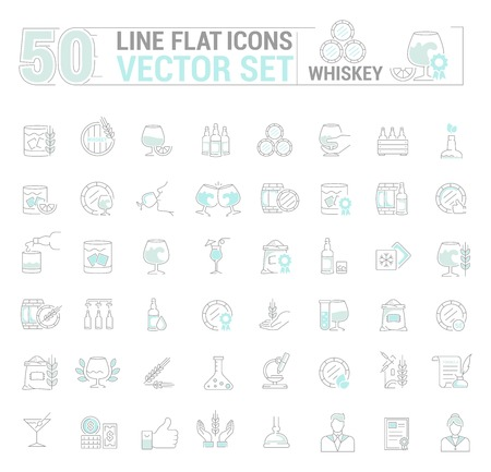 Vector graphic set of simple icons in flat, contour, thin and linear design. Whiskey drink. Scottish and Irish alcoholic drink. Concept illustration for Web site, app. Sign, symbol, emblem