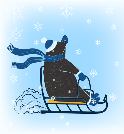Funny bear riding on a sled on a snowy background. Illustration of a bear dressed in winter clothes, for your  posters t-shirts Çizim