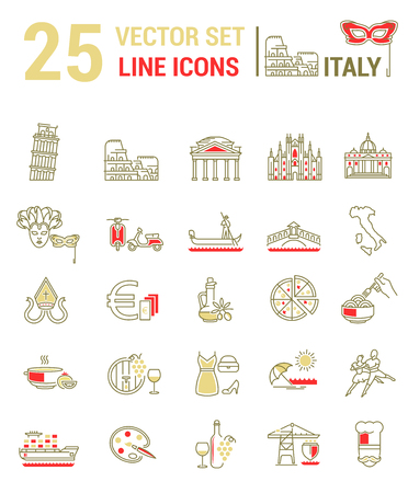 A set of graphical linear and flat icons with symbols of Italy. Colletia infographics and silhouettes of culture of Spain for map design, web sites, mobile app.