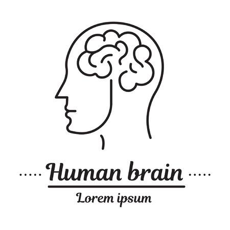 Vector set graphic logo, icon. Human brain.Brain activity. Head. Clinic logo, psychology disease. Concept psychological disease. Linear, flat, contour, thin. App, template, infographic. Symbol.