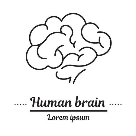 Vector instellen grafisch logo, pictogram. Menselijk brein. Hersenactiviteit. Hoofd. Kliniekembleem, psychologieziekte. Concept psychologische ziekte. Lineair, plat, contour, dun. App, sjabloon, infographic. Symbool.