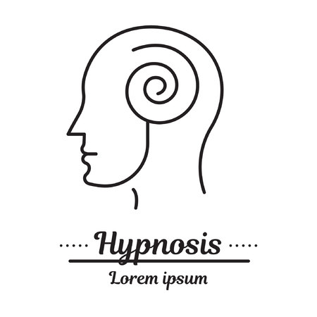 Logo grafico vettoriale, icona. Ipnosi e ipnoterapia. un uomo in trance. Logo della clinica, malattia di psicologia. Aiuto psicologico di concetto. Lineare, piatto, contorno, sottile. App, modello, infografica. Simbolo.