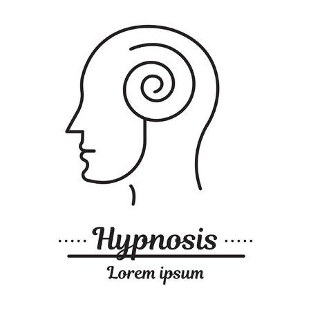 Logo grafiki wektorowej, ikona. Hipnoza i hipnoterapia. człowiek w transie. Logo kliniki, choroba psychologii. Koncepcja pomocy psychologicznej. Liniowy, płaski, konturowy, cienki. Aplikacja, szablon, infografika. Symbol.