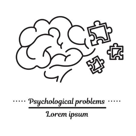 Vector grafisch logo, pictogram. Psychische problemen, typen, oorzaken. Klinieklogo. Concept psychologische hulp. Lineair, plat, contour, dun. App, sjabloon, infographic. Symbool. Logo