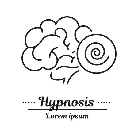Vector graphic logo, icon. Hypnosis and hypnotherapy.Trance.Clinic logo, Hypnosis treatment. Concept psychological help. Linear, flat, contour, thin. App, template, infographic. Symbol.