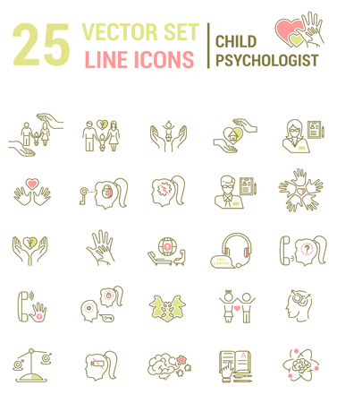 Set vector line icons in flat design with psychological help for kids elements f