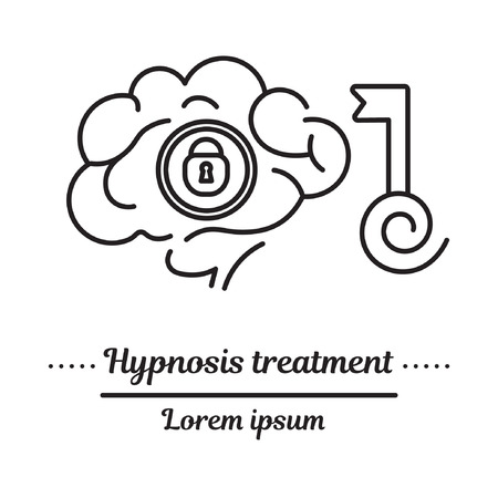 Vector graphic logo, icon. Hypnosis key to recovery of memory.Trance.Clinic logo, Hypnosis treatment. Concept psychological help. Linear, flat, contour, thin. App, template, infographic. Symbol.