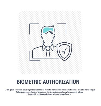 Vector graphic set. Editable stroke size. Icons in flat, contour, outline design. Biometric authorization of a persons face. Web and app icons. Concept illustration. Sign, symbol, element. Çizim