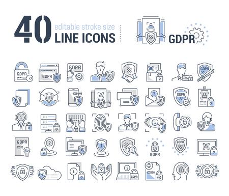 Vector graphic set. Editable stroke size. Icons in flat, contour, outline design. General Data Protection Regulation. Web and app icons. Concept illustration. Sign, symbol, element. Vetores