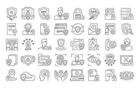 Vektorgrafik-Set. Bearbeitbare Strichgröße. Symbole in flach, Kontur, Umrissdesign. Datenschutz-Grundverordnung. Web- und App-Symbole. Konzept-Abbildung. Zeichen, Symbol, Element. Vektorgrafik
