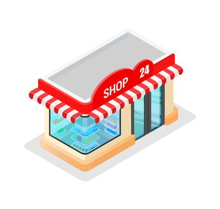 Concept of a modern graphic vector trade building for web design online store, application and other of your project. Shop construction. Isometry and 3d design. Store model with purchases and goods. Çizim