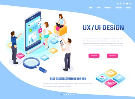 UX/UI design, workflow, development process. Modern vector illustration concepts for website and mobile website development. Vektorové ilustrace