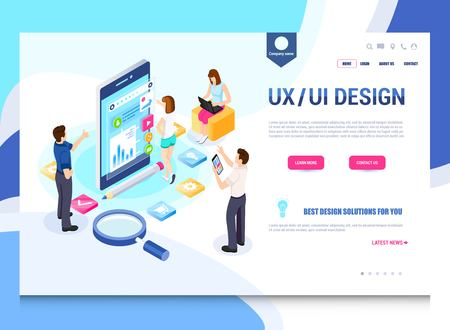 UXUI design, workflow, development process. Modern vector illustration concepts for website and mobile website development.