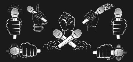 Satz, Sammlung. Hände, die ein Mikrofon halten. Gestaltungselement zum Drucken. Vektorgrafik