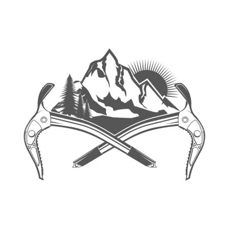 Rock climbing in summer and winter. Landscape, mountain, rock. Active lifestyle. Symbol emblem, element, print.