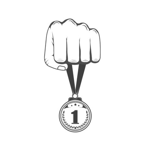 Hand holding a medal. Prize, reward for victory. Graphic object Stock Illustratie