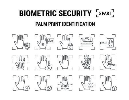 Vector graphic illustration. Set line icons. Palm print Identification. Stock Illustratie