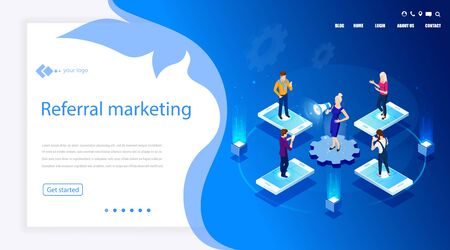 Vector isometric illustration. Concept Referral marketing. Isometric concept. Social media, network marketing, partnership. Digital E-marketing.  Analytics, strategy. Referring mechanism. Campaign