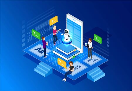 Concept e-learning illustrations. Bot teacher. Isometric Intelligence Learn. Technology and online training. Web study and lesson.
