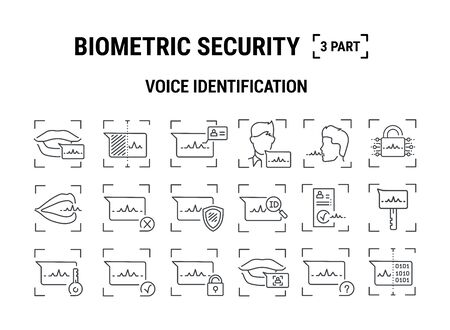 Vector graphic illustration. Set line icons. Voice identification. Outline design. Biometrics authorization. Person Recognition key. Digital access system. Cyber security. Web Sign, symbol.