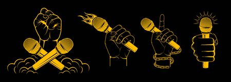 Hands holding a microphone. Design element for printing. Stock Illustratie