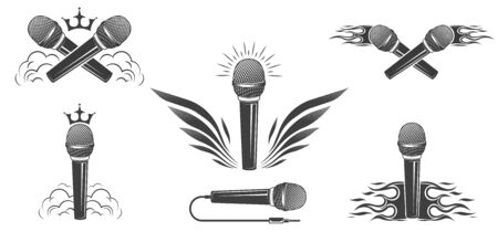 A set of microphones, collection.  Design element for printing. Stock Illustratie