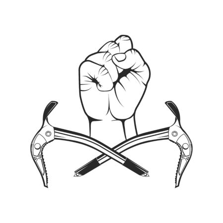 Rock climbing in summer and winter. Hand holds ice ax. Sport, activity, open air, lifestyle. Symbol emblem, element, print.