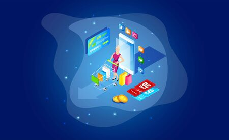 Isometric online smartphone shopping concept. Online store, smart phone home shopping. Mobile ecommerce and marketing. Sale, retail. Mobile marketing and e-commerce template Stockfoto