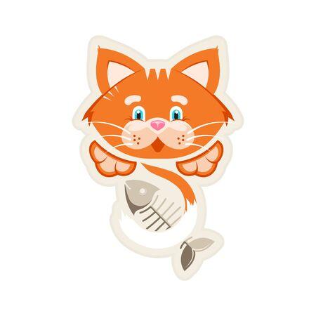 Vector illustration. Sticker. Orange funny cat with fish bone. Stock Illustratie