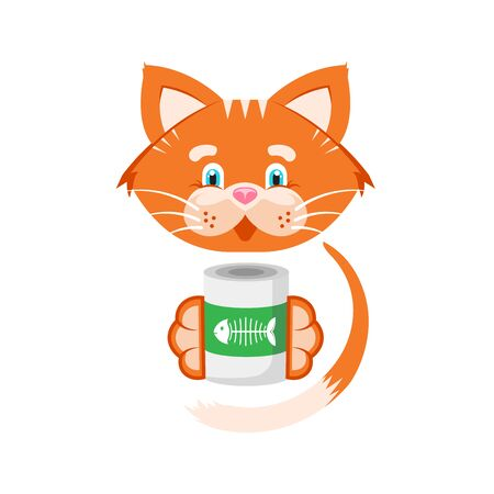 Vector illustration. Orange cat holds in its paws a jar of food.
