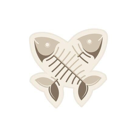 Vector illustration. Sticker. Fish bone Two crossed fish.