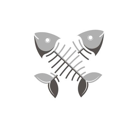 Vector illustration. Fish bone Two crossed fish. The template for the goods pet shop, pet food, veterinary and vet clinic. Stock Illustratie