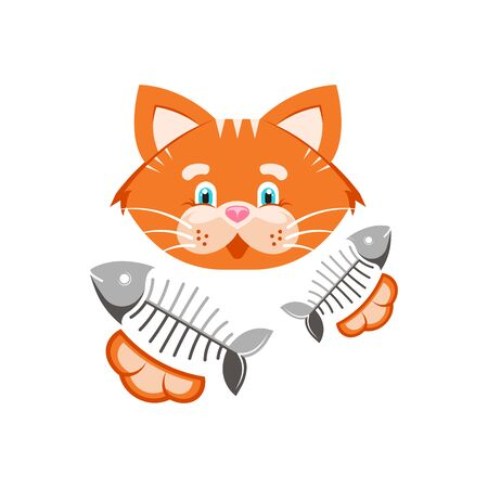 Vector illustration. Orange funny cat with fish bone. Stock Illustratie