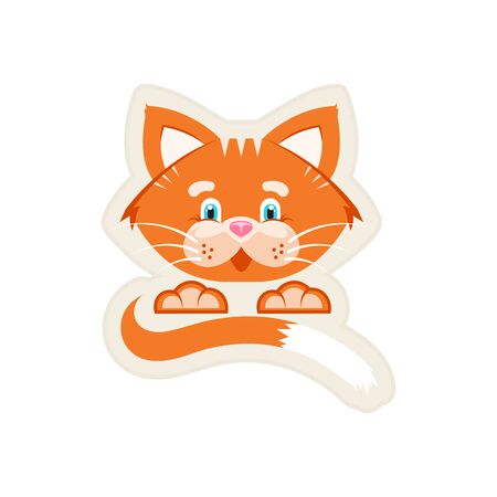 Vector illustration. Stker. Orange cat with a big face, tail and paws. White background. Stock Illustratie