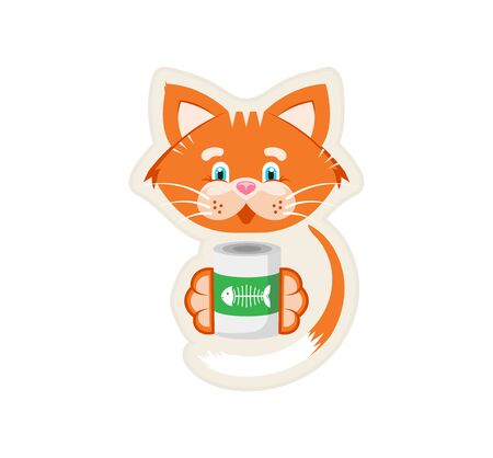 Vector illustration. Sticker. Orange cat holds in its paws a jar of food. Stock Illustratie