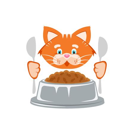 Vector illustration. Orange cat bowl with food and a spoon. Stock Illustratie