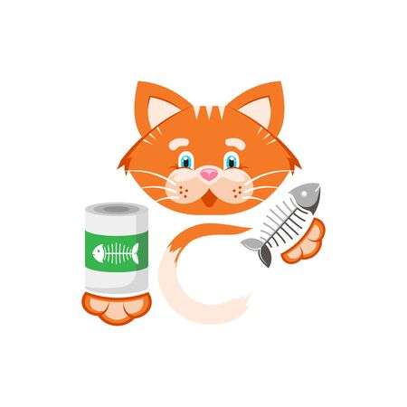 Vector illustration. Orange cat holds in its paws a jar of food and fish bone.