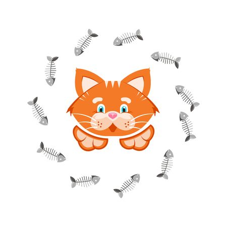 Vector illustration. Orange funny cat with framed fish bones.