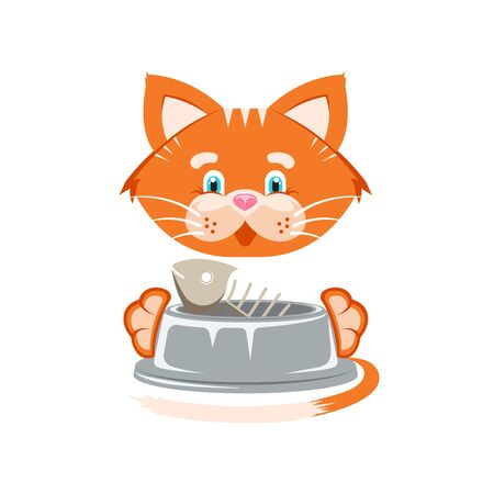 Vector illustration. Sticker. Orange funny cat with fish bone in a pet bowl.