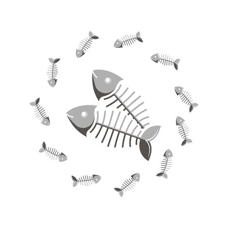 Vector illustration. Fish bone Two fishes. Frame of fish. The template for the goods pet shop, pet food, veterinary and vet clinic.