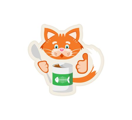 Vector illustration. Sticker. Orange cat holds in its paws a jar of food and a spoon.