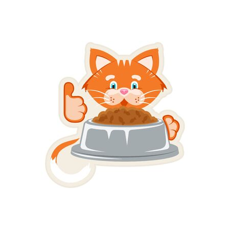 Vector illustration. Sticker. Orange cat bowl with food and a spoon.