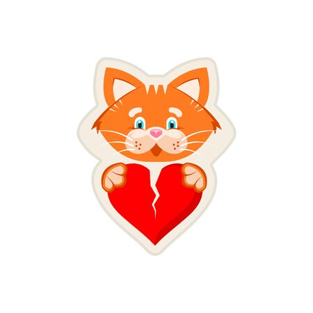 Vector graphic illustration. Sticker. Orange cat holding  broken heart in its paws. Sign of love and friendship.